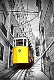 YBGW Pintura al óleo lienzoPaisaje clásico Moderno Negro Blanco Amarillo Autobús Cartel Ciudad Paisaje Impresiones Bicicleta Lienzo británico Imágenes de Pared para Sala de estar-40X60cm_White_FR