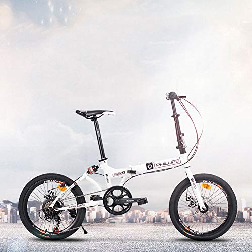 XM&LZ 20 Zoll Einstellbar Faltrad,Scheibenbremse Klappräder FÜR MÄNNER Frauen,Kohlenstoffstahl Variable Geschwindigkeit,Outdoor Straße Faltrad A 20inch