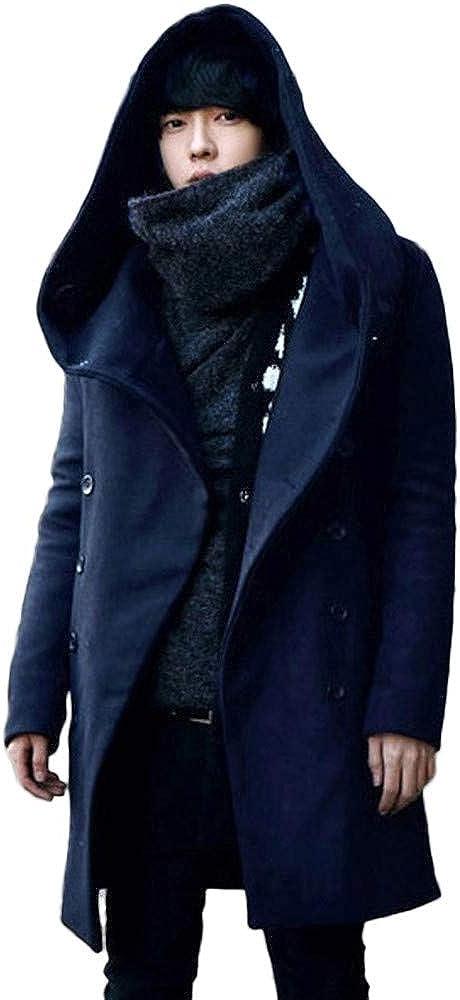 MODOQO Men's Long Trenchcoat Hoodies Warm Winter Outwear Windbreak Coat