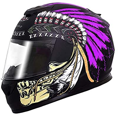 Triangle Full Face Lightweight, Aerodynamic, Comfortable Street Bike Motorcycle Helmets DOT Approved (Indian Purple, X-Large) from Jinhua Bokai Motorcycle Fitting Co.,LTD