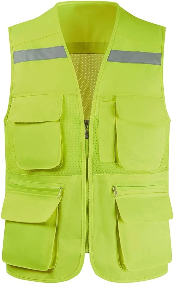 lhl We OFFer at cheap prices Bright Reflective Vest High Multifunctional 2021 autumn and winter new Mesh Pock Zipper