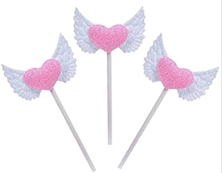 Nature Dream 3 Pcs Angel Wings Pink Heart Cupcake Picks Birthday Cake Toppers for Baby Shower Decoration Wedding Party Sup...