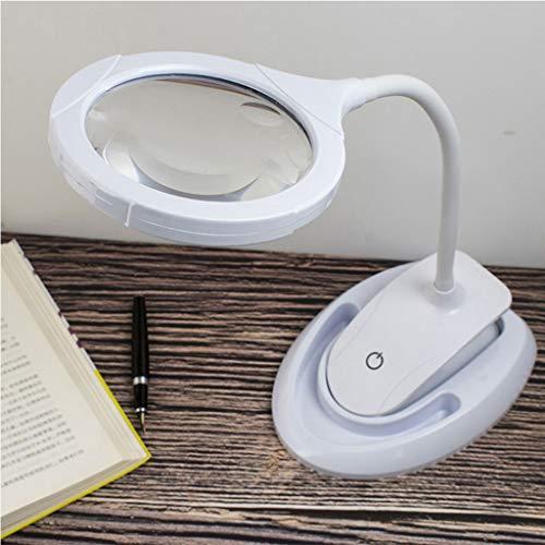 Bettgitter 2 in 1 Lupe 5X 10X wiederaufladbare LED Lampe Mit Utility-Klemme Und Ständer 15 LED 3 Einstellbare Helligkeit zum Lesen, Hobby, Basteln, Werkbank (Color : White)