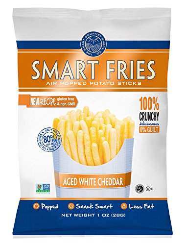Gourmet Basics Smart Fries White Cheddar - Air Popped Low Calorie Snacks - Gluten Free, Low Fat, non-GMO - Reduced Fat Potato Chips Straws Veggie Crisps (Pack of 20)