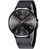 LIGE Ultra-Delgado Relojes para Hombre Acero Inoxidable Impermeable Cuarzo Analógico Reloj Moda Negro Malla Reloj de Pulsera