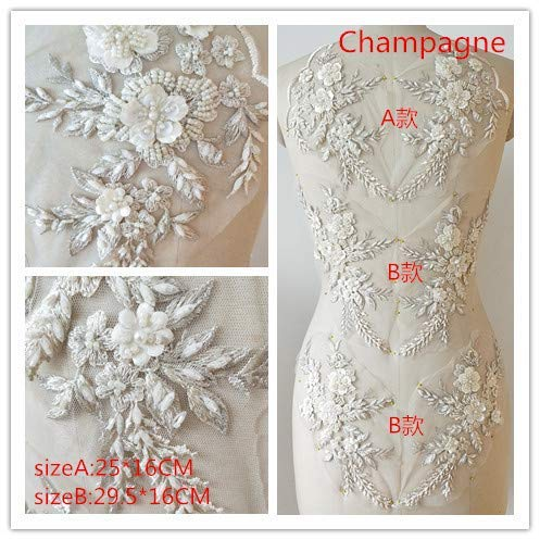 Hand Beaded Flower Sequence 3D Lace Applique Motif Sold by 3 Pairs Great for DIY Decorated Craft Sewing Costume Evening Bridal Top A6 (Champagne)