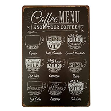 ERLOOD Coffee Menu Know Your Coffee Tin Sign Wall Retro Metal Bar Pub Poster Metal 12 X 8