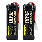 POVWAY 7.2V 3600mAh NiMH RC Battery Packs with Tamiya Connector for RC Car RC Vehicles Traxxas LOSI Associated HPI Kyosho Tamiya Quadcopter Drone RC Hobbies - 2 Pack