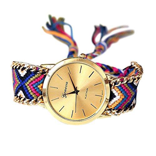 SoulSisters - Reloj de pulsera hecho a mano, estilo bohemio, trenzado, multicolor