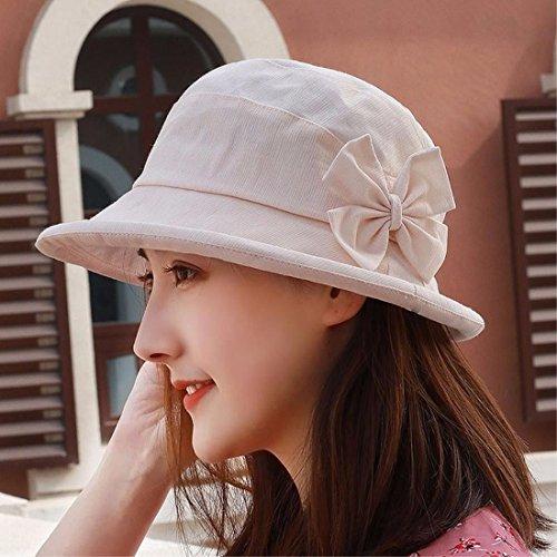 YXLMZ Señoras Mujeres Sombreros de Rollo de Primavera - Verano Visera Exterior de Borde Doble Tapa Transpirable Flores utilizadas para Decorar el Sombrero Blanco