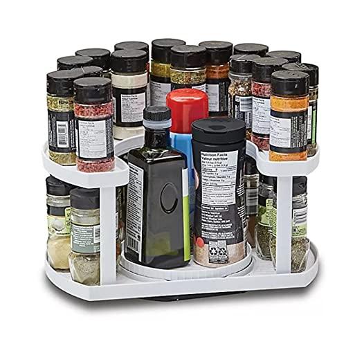 YANGYANG Allenzhang 2 capas de almacenamiento de alta capacidad de almacenamiento de cocina giratoria organiza especias tarro botella almacenamiento rack organizador estantes gabinete (color: blanco)