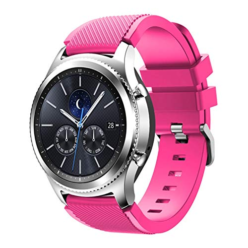 Correa para Samsung Galaxy Watch 3 45mm / 41 / activo 2 engranaje S3 Frontier/HW Watch GT 2E / 2 / GTS Strap 20 / 22mm Watch Band 10688 (Band Color : Barbie powder 11, Band Width : 20mm)