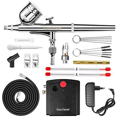 Gocheer Profi Dual Action Airbrush-Spritzpistole Set mit Kompressor, Druckluftschlauch und REINIGUNGSSET, Gravity, Lackierpistole für Werbeillustrationen, Bodypainting, Modellbau, Nail Design