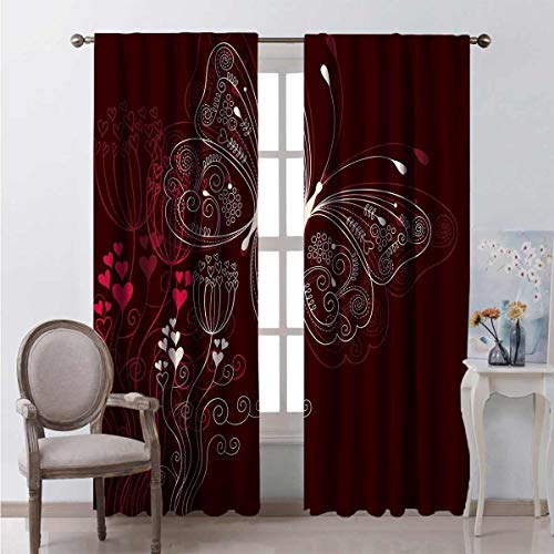 Toopeek Romantic Wear-Resistant Color Curtain Abstract Floral Heart Pattern with Butterfly Motif Romantic Illustration Waterproof Fabric W54 x L63 Inch Maroon Red Beige