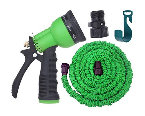 Expandable Garden Hose By Gardeniar 50ft Green , Strong , No Kink and Super Flexible -The Best Expanding Garden Hose for all your Watering Needs - Comes with a Free 8 Setting Spray Nozzle , Additional Shut-off Valve and Free Hose Hanger