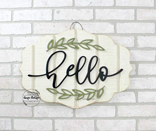 Ced454sy geschenk moderne deur krans Hello teken voor voordeur opknoping hout teken voordeur Decor jaar ronde teken zwart letters 22x15 minimalistische