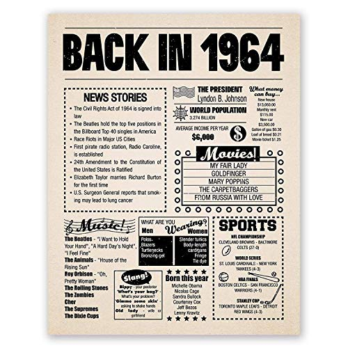 11x14 1964 Birthday Gift // Back in 1964 Newspaper Poster // 57th Birthday Gift // 57th Party Decoration // 57th Birthday Sign // Born in 1964 Print