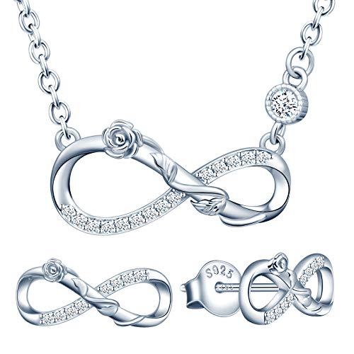 Yumilok Conjunto de joyas de collar y pendientes, collar colgante y pendientes de rosa y símbolo de infinito en plata 925, joyas para mujeres y niñas, incrustaciones de circonitas, plata