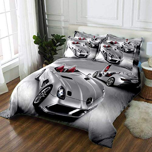 Huooseso 3D Silver cool bike Duvet Cover Set Modern Pattern Printed Bedding Duvet Cover with Zipper Closure 3 Pieces Girls Soft Comforter Cover Super King size 260 x 230 cm -Bedding youth duvet cove