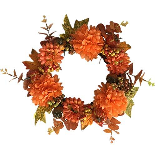 Cgration Künstliche Blumen Kürbisernte Kranz Outdoor für Haustür Wand Fenster Party Hochzeit Dekor