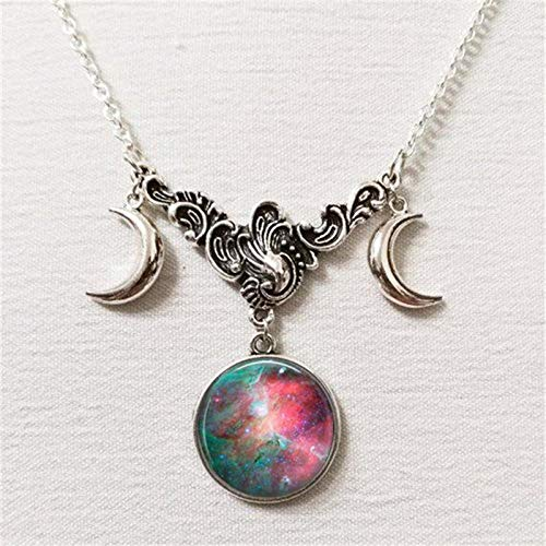 NUANYANG Galaxy Constellation Triple Moon Halskette Hexenschmuck Antik Silber Halbmond Anhänger Schmuck I
