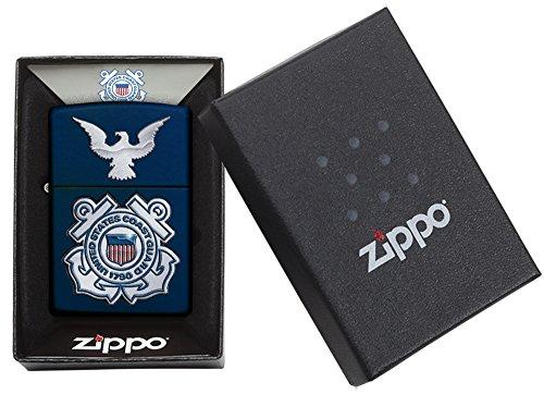 Zippo United States Coast Guard Logo Pocket Lighter, Navy Matte