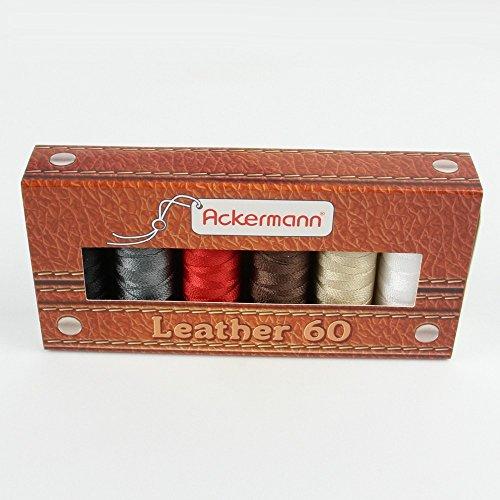 Ackermann® Leather Nähgarnset Farben Mix Stärke 60, 6X 120m, Garn für Leder, Markengarn