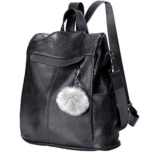 Women Backpack Waterproof Anti-theft Lightweight PU Leather Fashion Purse Shoulder Bag Travel Backpack Ladies(Black)