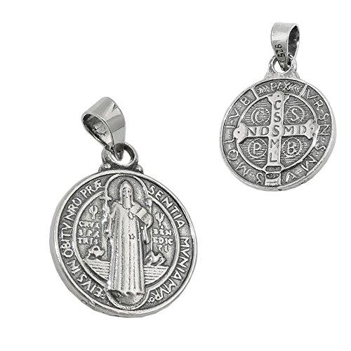 Anhänger religiöse Medaille Beschriftung Sankt Benedikt, geschwärzt, 925 Silber