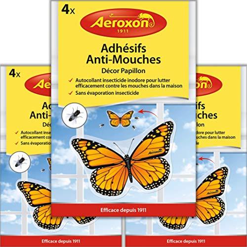 Aeroxon - Adhesifs Anti-Mouches - Appât à Mouches pour fenêtres - 3x4 = 12 pièces Paquet spécial - Plus de Mouches collées à la fenêtre - Maintenant Substance Active au Lieu de Colle
