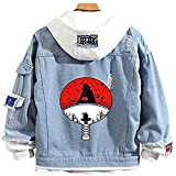 Men Trucker Jacket Woman Denim Jacket Fashion Denim Jacket Classic Denim Jacket Ripped Denim Jacket Coats Make Old Hoodies Akatsuki Costume (M, Blue)