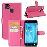Guran Housse en Cuir PU pour Asus Zenfone 3 Zoom S ZE553KL Smartphone Flip Cover Étui Portefeuille et Fonction Stent Cas-rose...