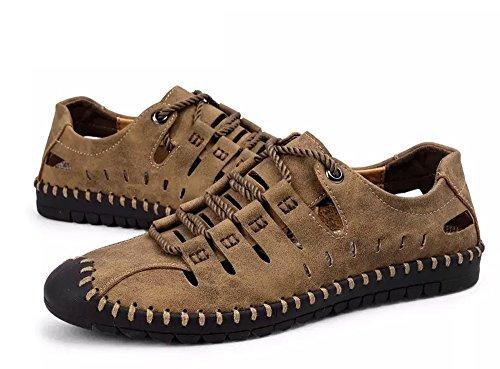Hombres Deportivas Sandalias Zapatillas Verano Pescador Playa Zapatos Senderismo Casuales Cuero Chanclas Transpirable Trekking(Caqui,46 EU,28CM De talón a Dedo del pie