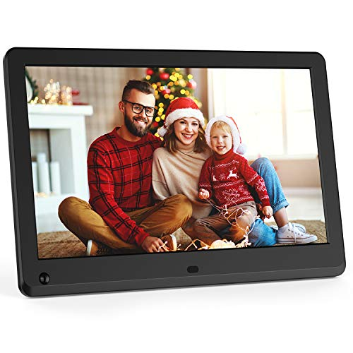 Digital Picture Frame 12 Inch with Motion Sensor, 1920x1080 IPS Screen, Support 1080P Video, Photo Slideshow, Music, Adjustable Brightness, Breakpoint Play, Auto-Rotate,Remote Control, Calendar-Black Digital Frames Picture