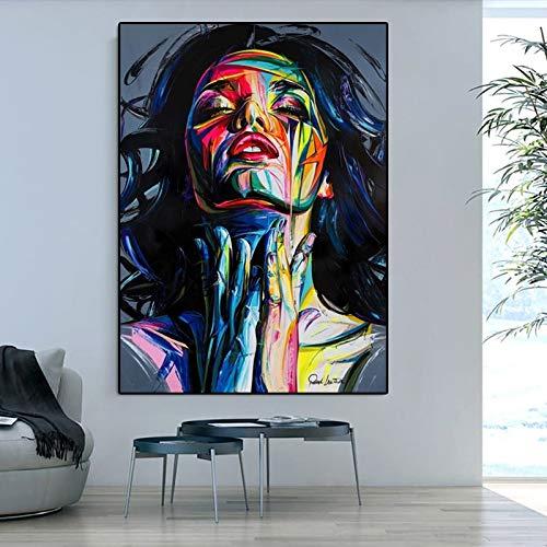 PLjVU Leinwandmalerei Moderne Graffiti-Kunst charmantes Mädchen Messer Ölgemälde Druck Kunst Wandbild Wohnzimmer Hauptdekoration-Ohne Rahmen50X75cm