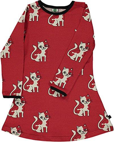 Smafolk Kleid Langarm A-Form Allover Katze rot Gr. 7-8 Jahre