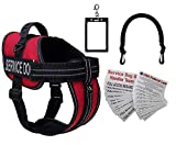 Activedogs Service Dog Vest Harness + Free Clip-on Bridge Handle + Free Clip-on ID Carrier + Free ADA Cards + Free Reflective Service Dog Patches (S (Girth 19-24), Red)