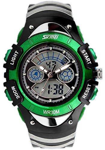5 色 キッズ 子供 用 ダイバーズ LED ライト 多機能 腕 時計 デジアナ 防水 ストップ ウォッチ スポーツ アウトドア (グリーン)