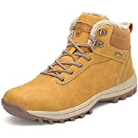 Botines Impermeables Hombre Mujer Botas de Nieve Botines Zapatos Senderismo Impermeables Deportes Trekking Zapatos Fur Forro Aire Libre Boots Mishansha Amarillo 44 EU