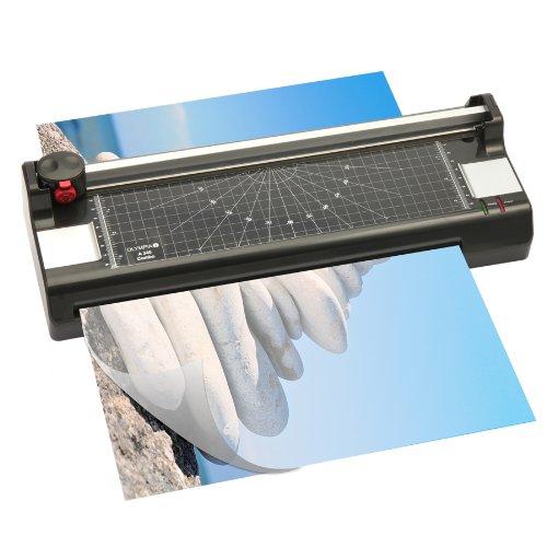 Olympia - Plastificadora 4 en 1 (para DIN A4, incluye guillotina con 3 tipos de corte, redondeador de esquinas y 100 láminas para plastificar)