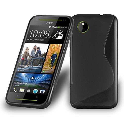 Preisvergleich Produktbild Cadorabo Hülle für HTC Desire 700 - Hülle in Oxid SCHWARZ Handyhülle aus flexiblem TPU Silikon im S-Line Design - Silikonhülle Schutzhülle Soft Back Cover Case Bumper