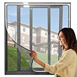 """【Upgrade】Adjustable DIY Magnetic Window Screen Max 72""""H x 48""""W Fits Any Size Smaller DIY Easy Installation( White Frame with Grey net)"""