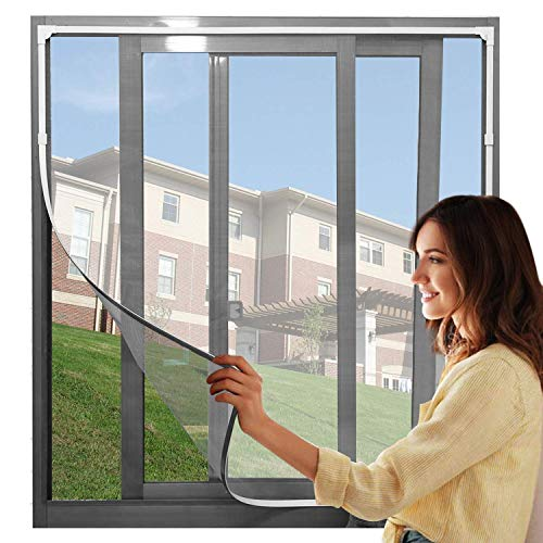"""【Upgrade】Adjustable DIY Magnetic Window Screen Max 48""""H x 43""""W Fits Any Size Smaller DIY Easy Installation(White Frame with Grey net)"""