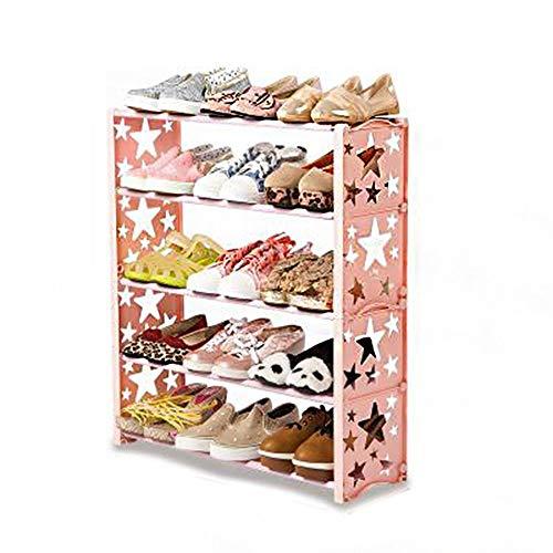 XBCDX Zapatero de 4 Niveles Sostiene 15 Pares de Zapatos Torre Organizador de Zapatos Gabinete Ahorro de Espacio Torre de Zapatos Estantes apilables (Color: Rosa)