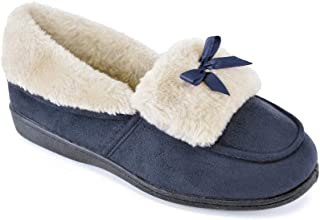 Women's Ladies Full Moccasin Slipper Shoes with Bow Slipper Shoes