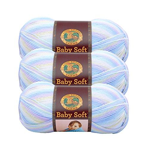 (3 Pack) Lion Brand Yarn 920-218 Babysoft Yarn, Pastel Print Baby Soft Yarn Pastel