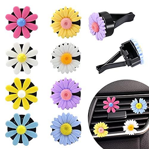 SelfTek 8 clips de ventilación de coche con margaritas y flores lindas coloridas para el interior del coche, accesorios de decoración automotriz con 16 almohadillas de algodón sin olor