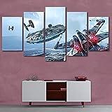dxycfa 5 Teilig Leinwandbilder Star Wars Wandbild Bild Format Wandbilder Wohnzimmer Wohnung Deko Kunstdrucke 5 Teilig 150Cmx80Cm