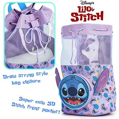 Disney Lilo and Stitch Swimming Backpack, Large Drawstring Bags for Kids with Cute 3D Stitch Front Pocket, Swim Accessories for Girls, Gift Idea for Birthday, Back to School Or Holiday Beach Towel