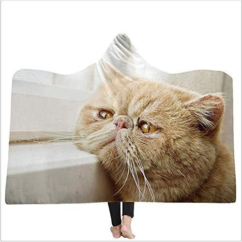Yaxinduobao Fat Cat 3D Printed Bedding Sofa Throw Hooded Flannel Blanketthrowable Sofa Bed Wool Blanket